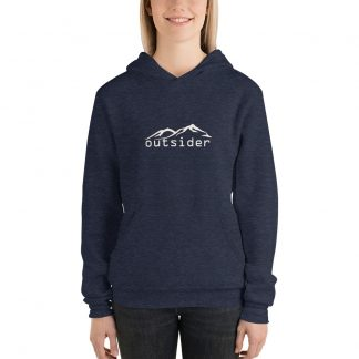 Outsider Unisex Fleece Hoodie in Heather Navy