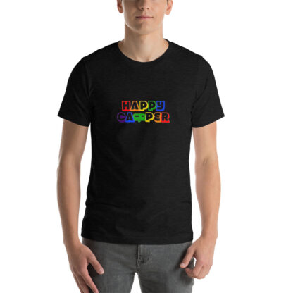 Happy Camper Rainbow Unisex Tshirt in Heather Black
